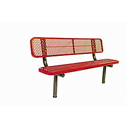 UltraSite 6 ft. Commercial In-Ground Bench with Back in Red
