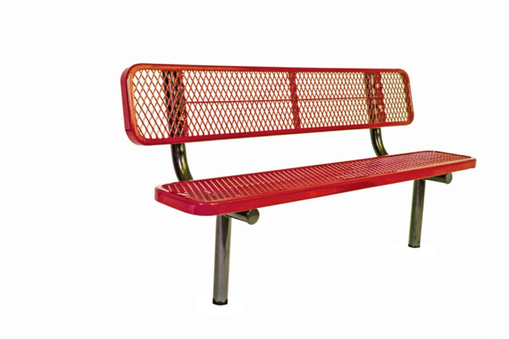 6 ft Commercial Bench w/ Back, In Ground- Red