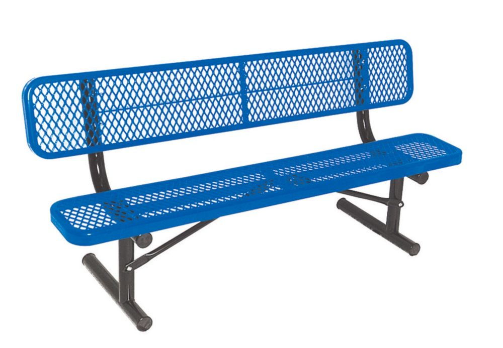 6 ft Commercial Bench w/ Back, Portable- Blue