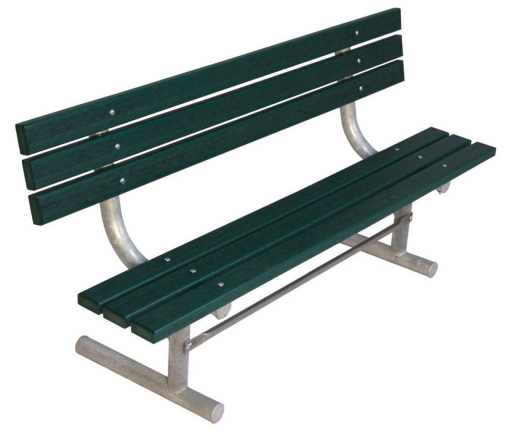 6 ft Commercial Recycled Plastic Bench w/ Back, Portable- Green