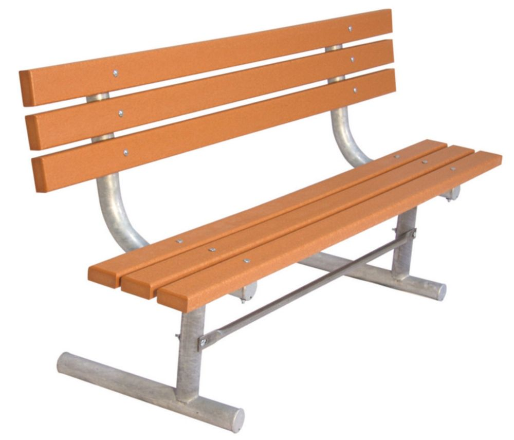 6 ft Commercial Recycled Plastic Bench w/ Back, Portable- Cedar