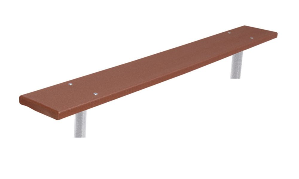 6 ft Commercial Recycled Plastic Bench, In Ground- Brown