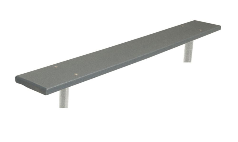 6 ft Commercial Recycled Plastic Bench, In Ground- Gray