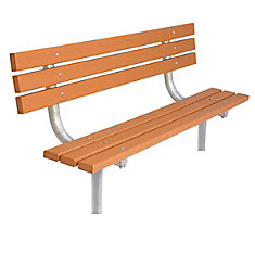 6 ft. Commercial Recycled Plastic In-Ground Bench with Back in Cedar