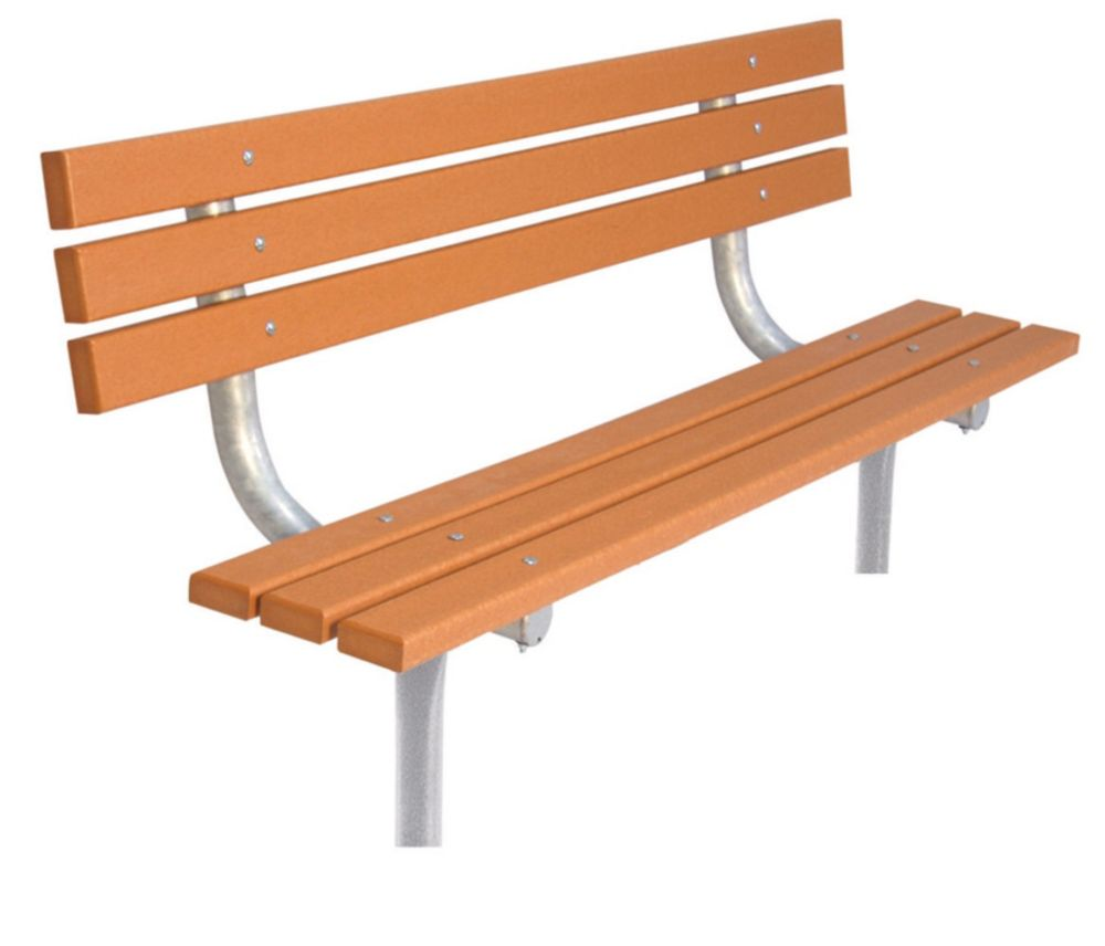 6 ft Commercial Recycled Plastic Bench w/ Back, In Ground- Cedar