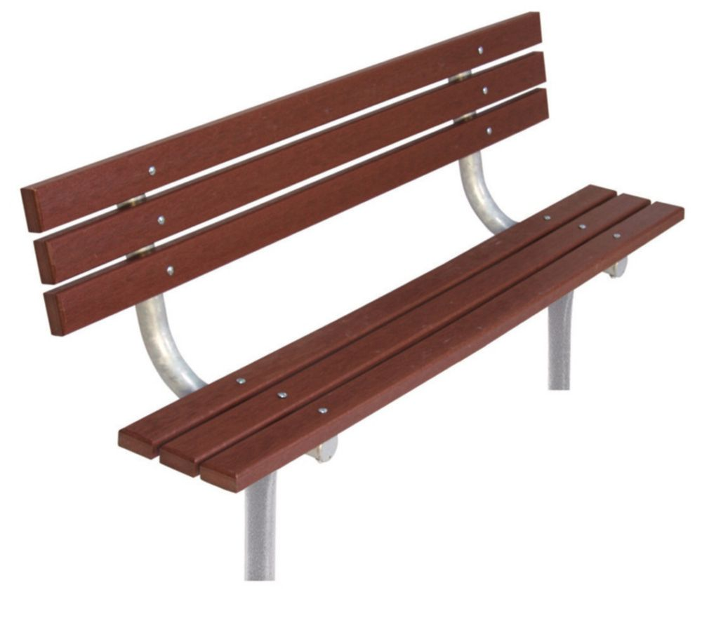 6 ft Commercial Recycled Plastic Bench w/ Back, In Ground- Brown
