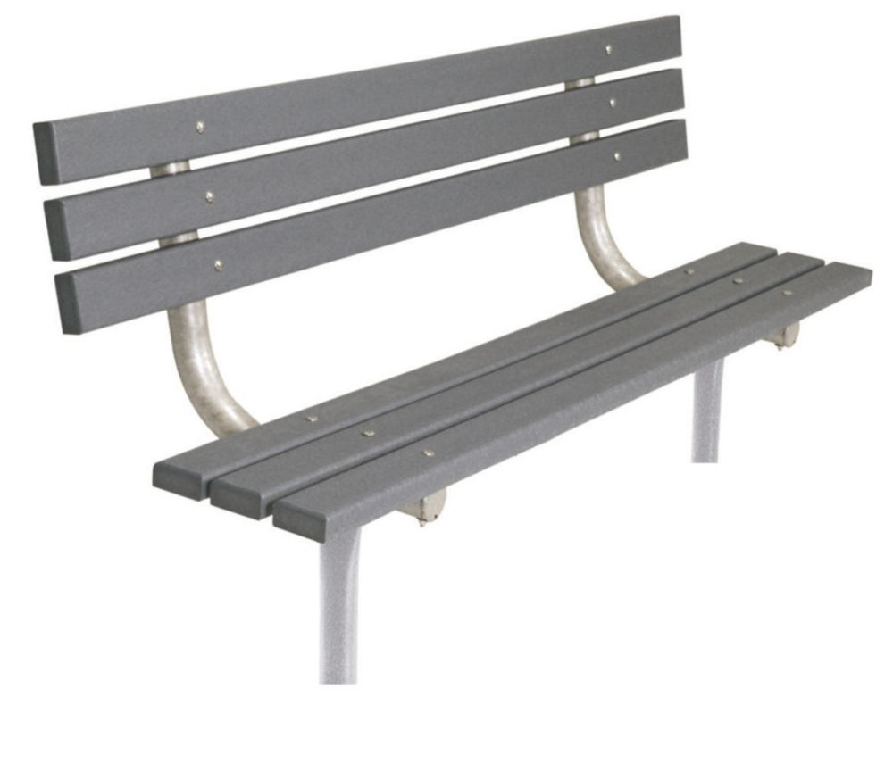 6 ft Commercial Recycled Plastic Bench w/ Back, In Ground- Gray