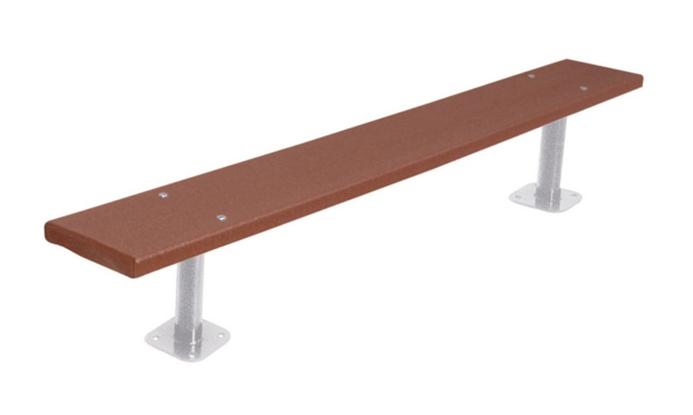 6 ft Commercial Recycled Plastic Bench, Surface Mount- Brown
