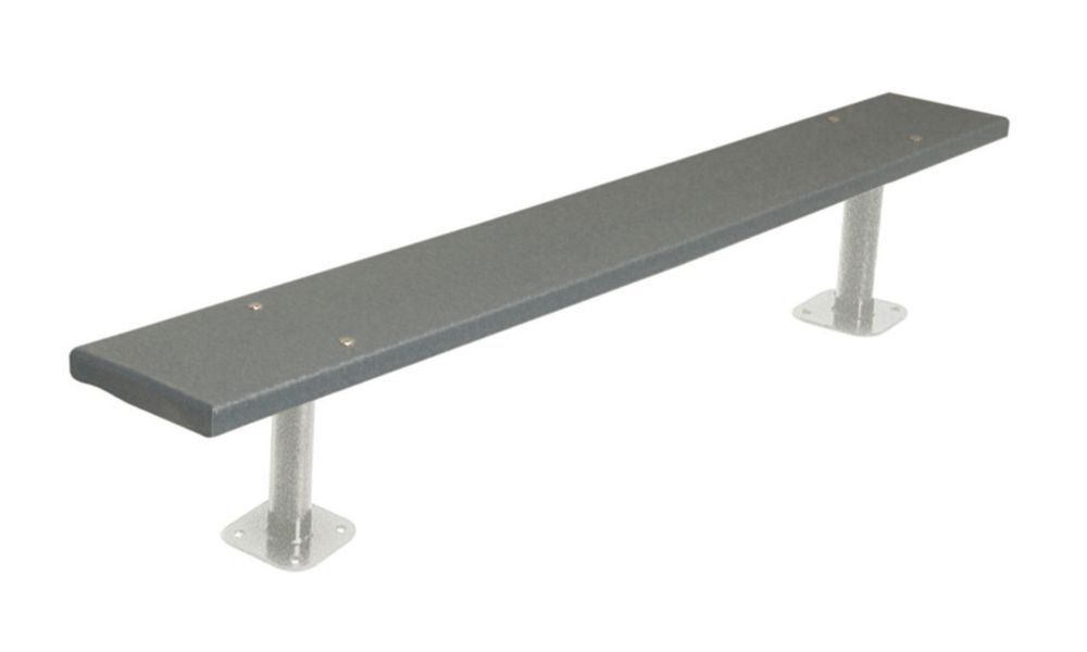 6 ft Commercial Recycled Plastic Bench, Surface Mount- Gray