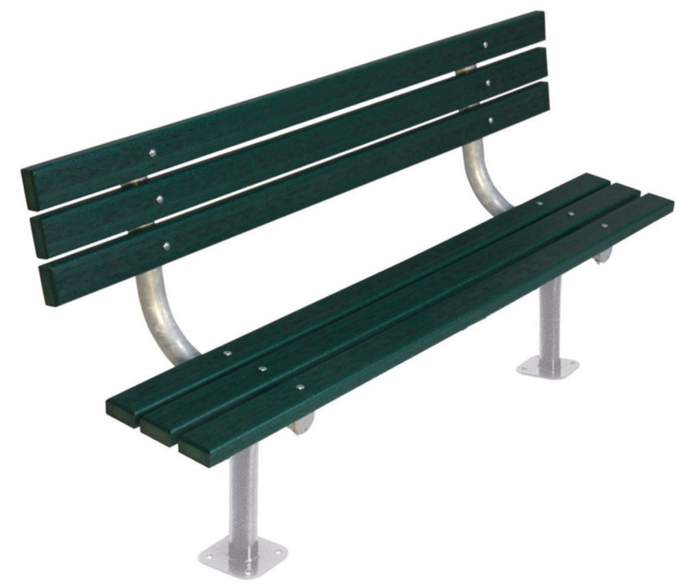 6 ft Commercial Recycled Plastic Bench w/ Back, Surface Mount- Green