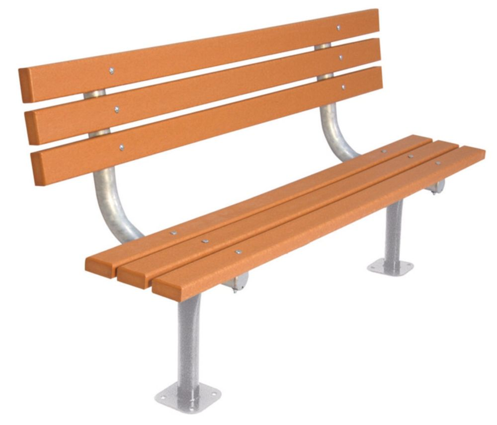 6 ft Commercial Recycled Plastic Bench w/ Back, Surface Mount- Cedar