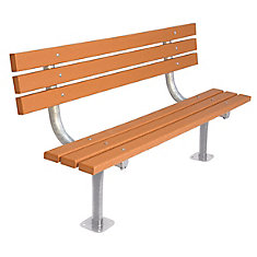 6 ft. Commercial Recycled Plastic Surface-Mount Bench with Back in Cedar
