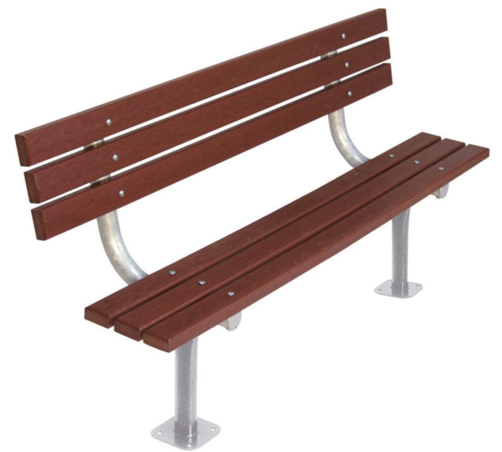 6 ft Commercial Recycled Plastic Bench w/ Back, Surface Mount- Brown