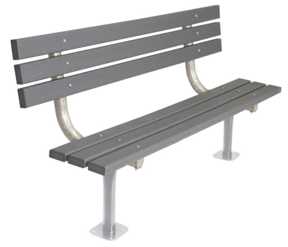 6 ft Commercial Recycled Plastic Bench w/ Back, Surface Mount- Gray