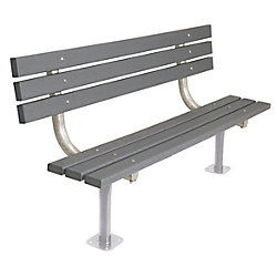 UltraSite 6 ft. Commercial Recycled Plastic Surface-Mount Bench with Back in Gray