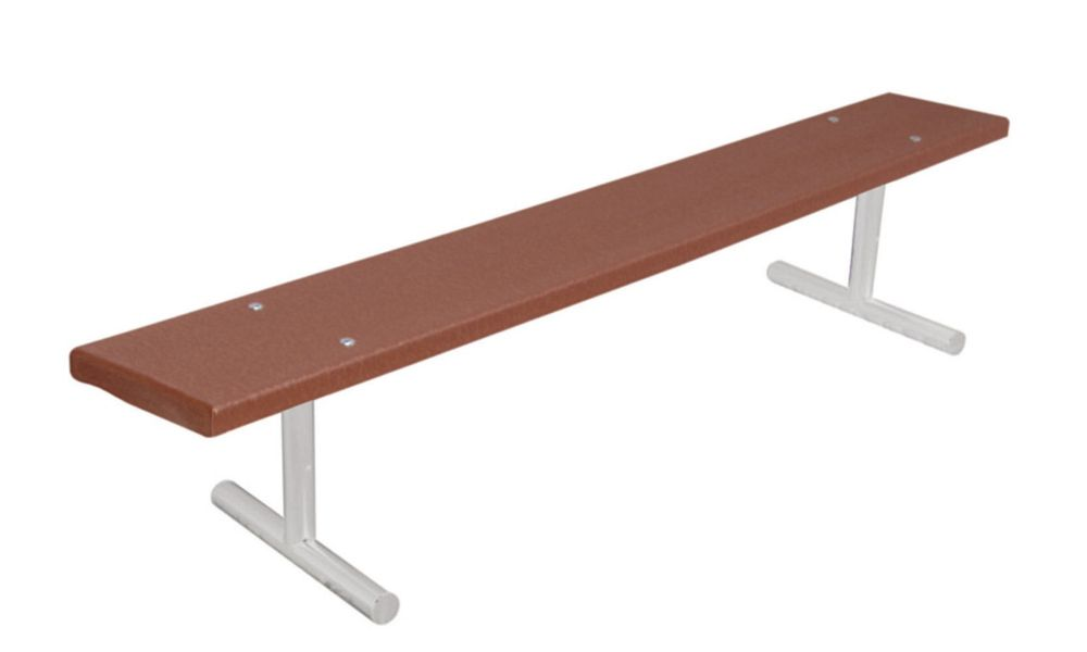 6 ft Commercial Recycled Plastic Bench, Portable- Brown