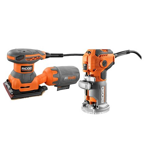 RIDGID 5.5 Amp Corded Fixed Base Trim Router with 2.4 Amp Corded 1/4 Sheet Sander