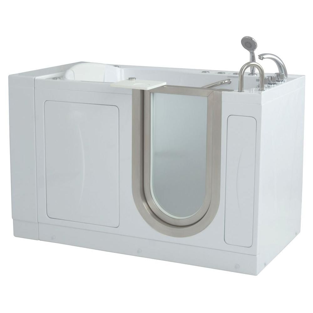 Royal 4 Feet 4-Inch Walk-In Whirlpool Bathtub in White with Swivel Tray