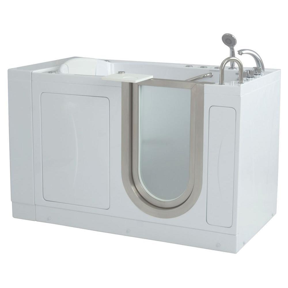 Royal 4 Feet 4-Inch Walk-In Whirlpool Bathtub in White with Swivel Tray