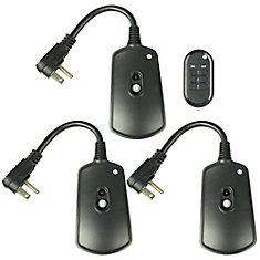 Paquet de 3 interrupteurs de télécommande sans fil d'intérieur / extérieur