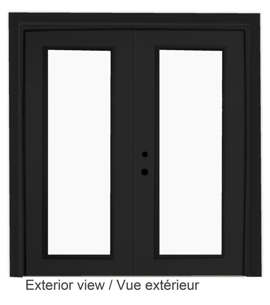 """Portefenêtre en acier (5' sur 82375"""") préfinie intérieur blanc et extérieur noir, LowE Argon"""