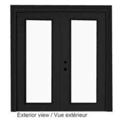 Stanley Doors 61 inch x 82.375 inch Clear LowE Argon Painted Black Right-Hand Steel Garden Door - ENERGY STAR®
