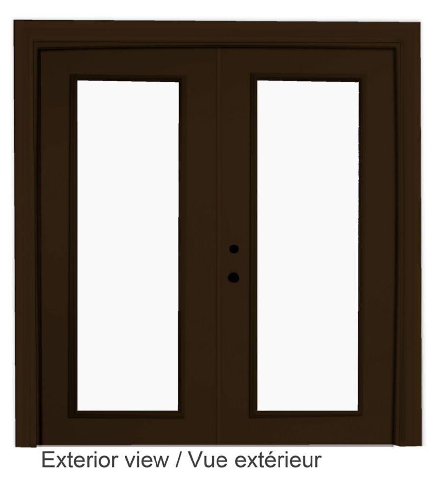 60-inch x 82-inch Brown Low-E Argon Righthand Steel Garden Door