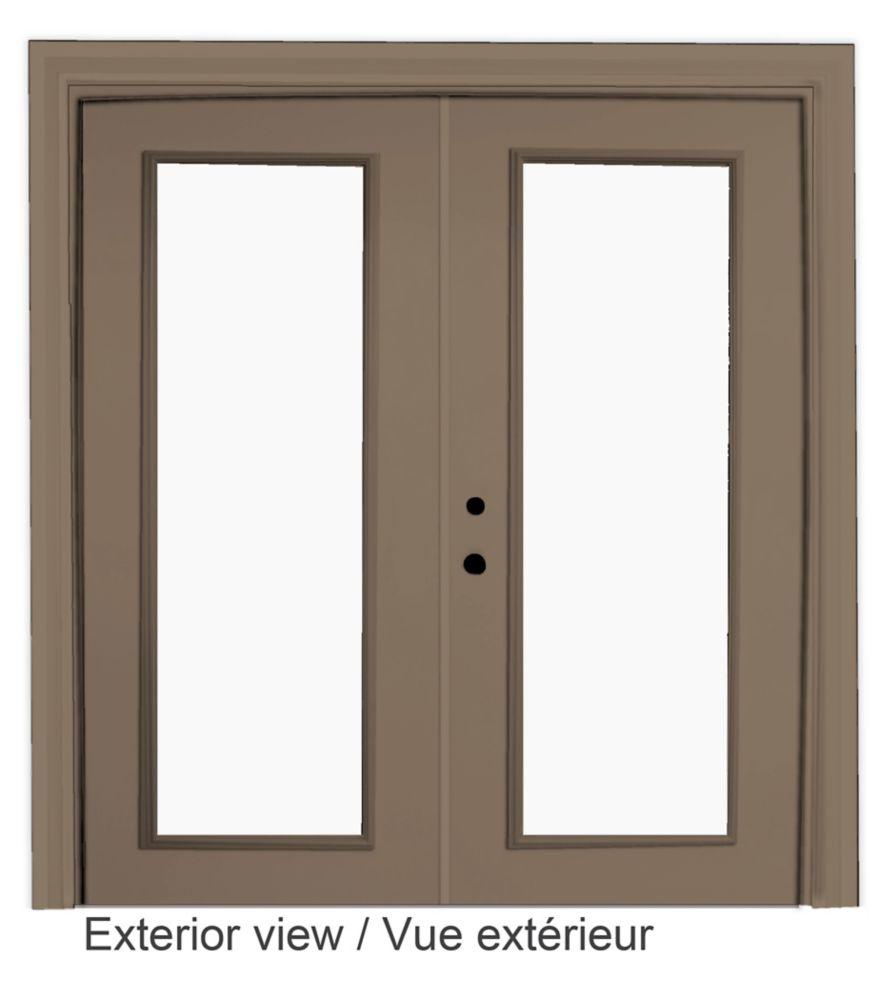 """Portefenêtre en acier (5' sur 82375"""") préfinie intérieur blanc et extérieur kaki, LowE Argon"""