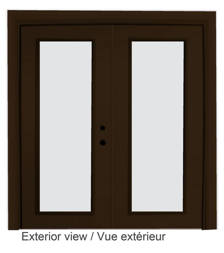 """Portefenêtre en acier (6' sur 82375"""") préfinie intérieur blanc et extérieur brun, LowE Argon"""
