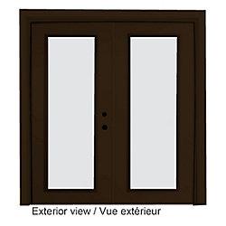"""STANLEY Doors Portefenêtre en acier (6' sur 82375"""") préfinie intérieur blanc et extérieur brun, LowE Argon - ENERGY STAR®"""