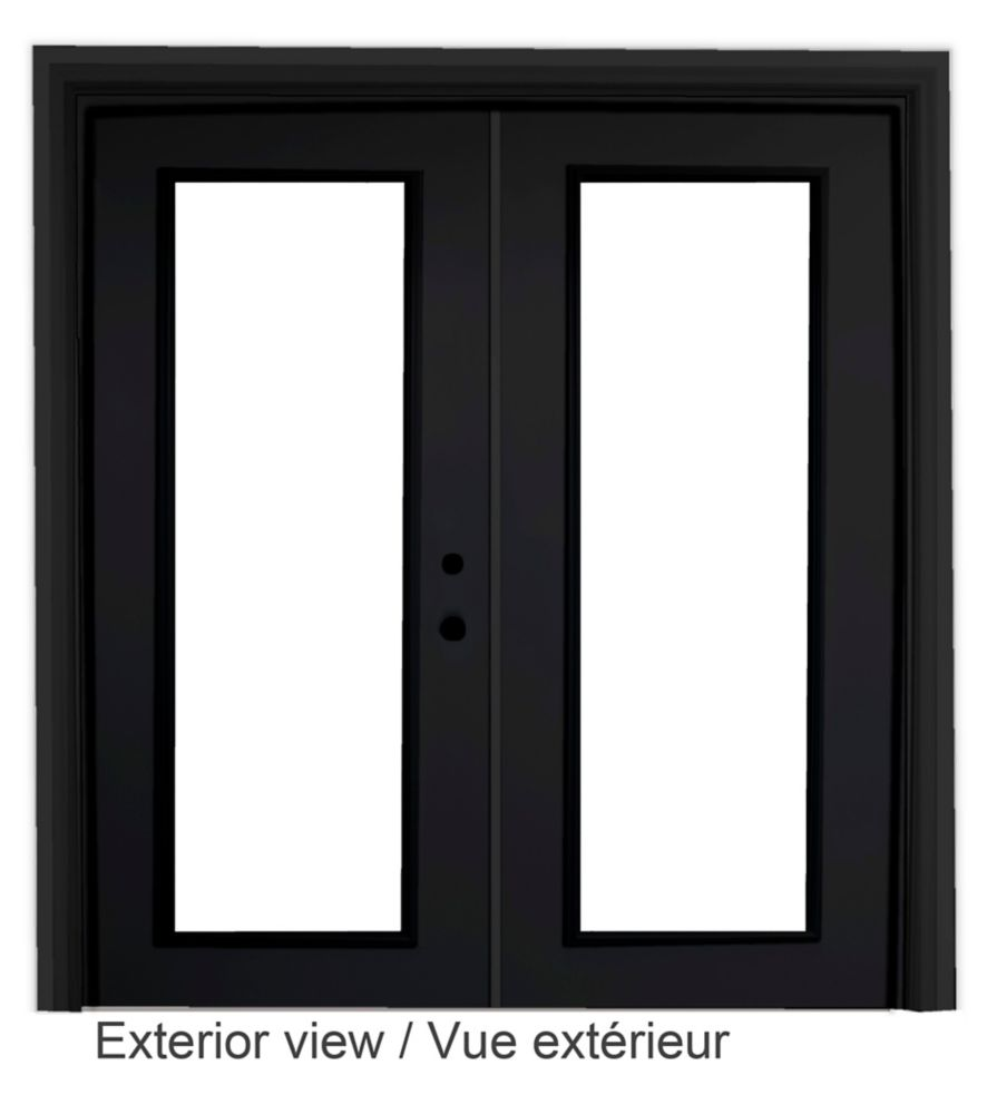 """Portefenêtre en acier (6' sur 82375"""") préfinie intérieur blanc et extérieur noir, LowE Argon"""