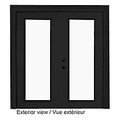 71 inch x 82.375 inch Clear LowE Argon Painted Black Right-Hand Steel Garden Door