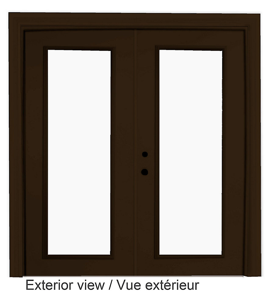 71 inch x 82.375 inch Clear LowE Argon Painted Commercial Brown Right-Hand Steel Garden Door - ENERGY STAR®