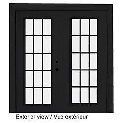 """STANLEY Doors Porte en acier-15 lite carrelage intérieur blanc, extérieur noir plat intégré (5' sur 82375"""") LowE Argon - ENERGY STAR®"""