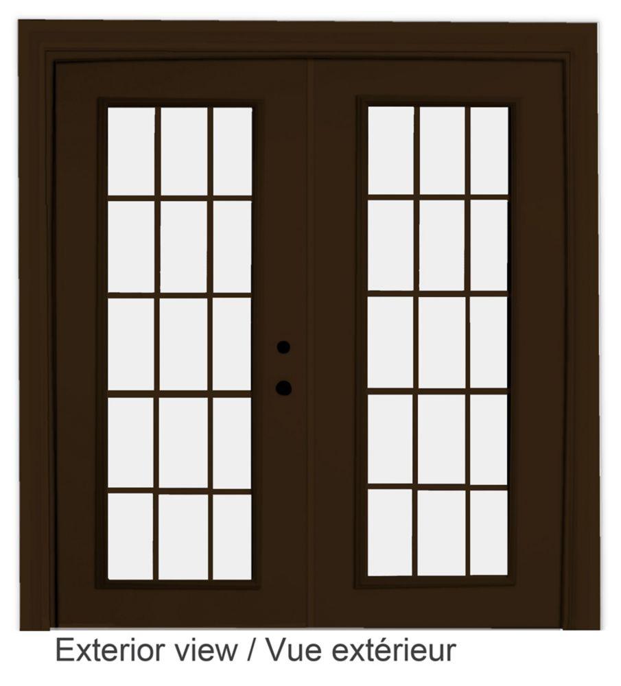 60-inch x 82-inch 15-Lite Low-E Argon-Filled Internal Grill Brown Lefthand Steel Garden Door