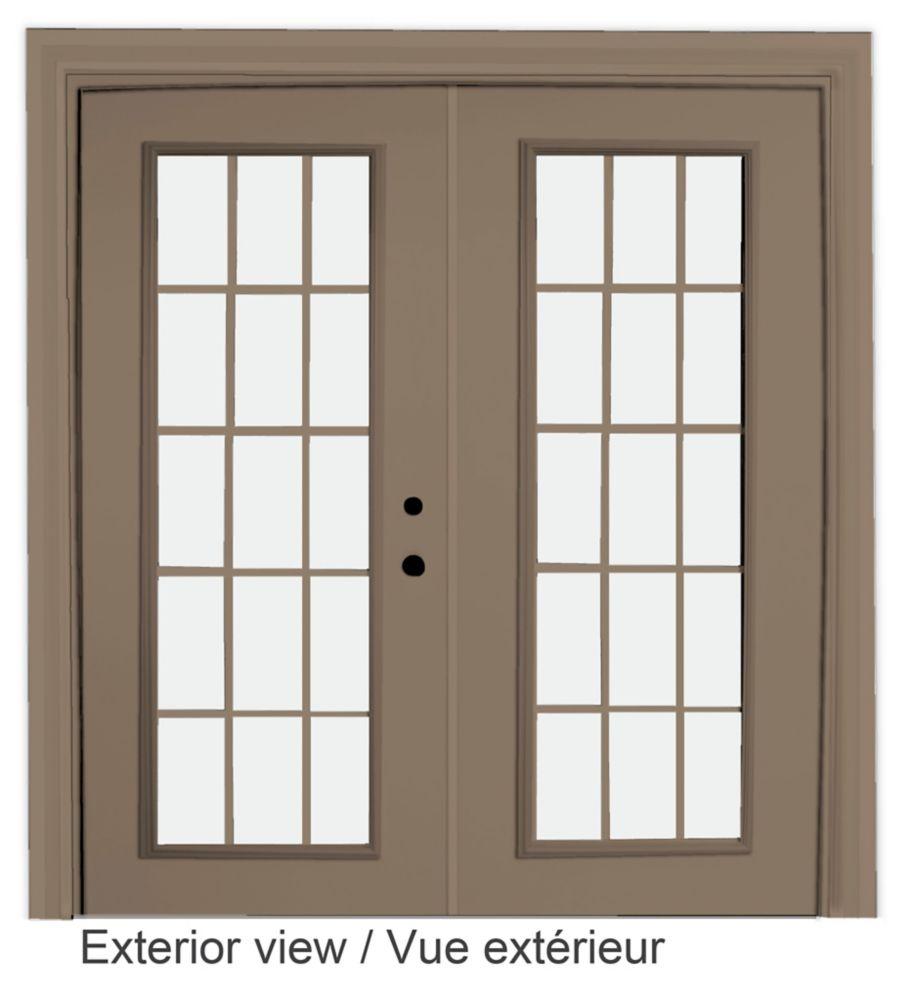 60-inch x 82-inch 15-Lite Low-E Argon-Filled Internal Grill Sandstone Lefthand Steel Garden Door