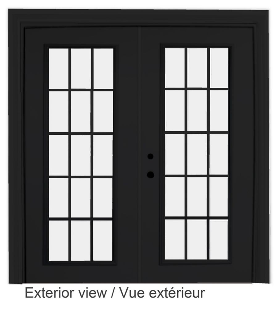 60-inch x 82-inch 15-Lite Low-E Argon-Filled Internal Grill Black Righthand Steel Garden Door