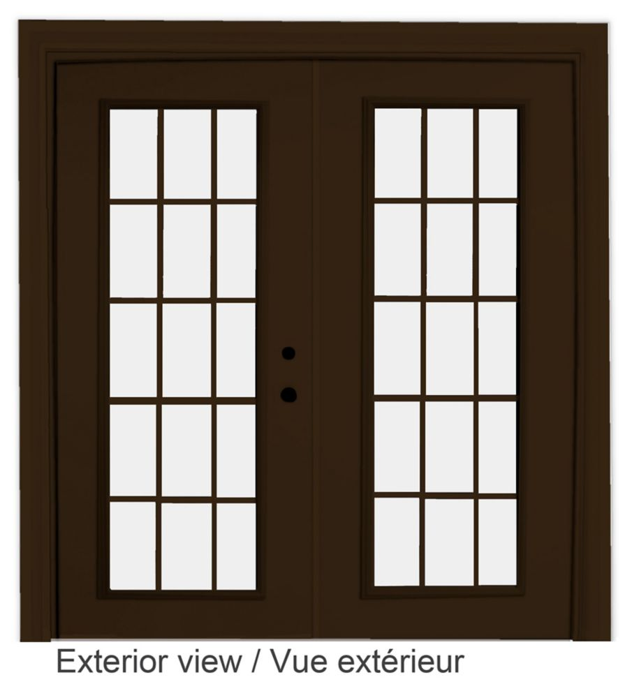 72-inch x 82-inch 15-Lite Low-E Argon-Filled Internal Grill Brown Lefthand Steel Garden Door