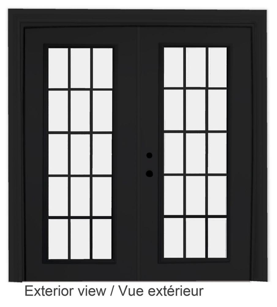 72-inch x 82-inch 15-Lite Low-E Argon-Filled Internal Grill Black Righthand Steel Garden Door