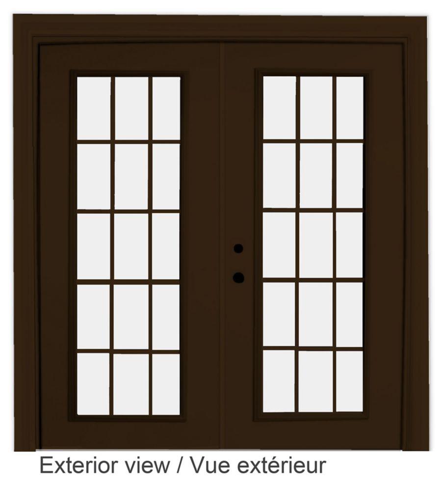 72-inch x 82-inch 15-Lite Low-E Argon-Filled Internal Grill Brown Righthand Steel Garden Door