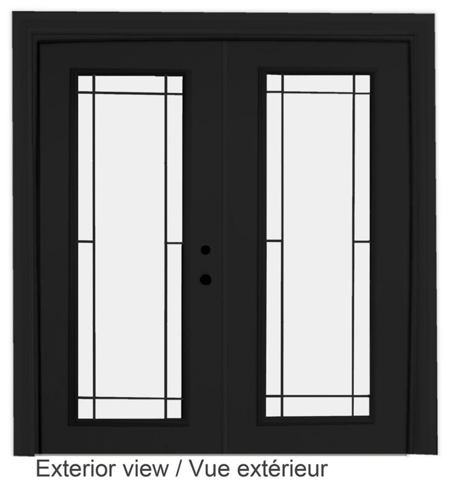 60-inch x 82-inch Black Low-E Argon Lefthand Steel Garden Door with Prairie Style Grill