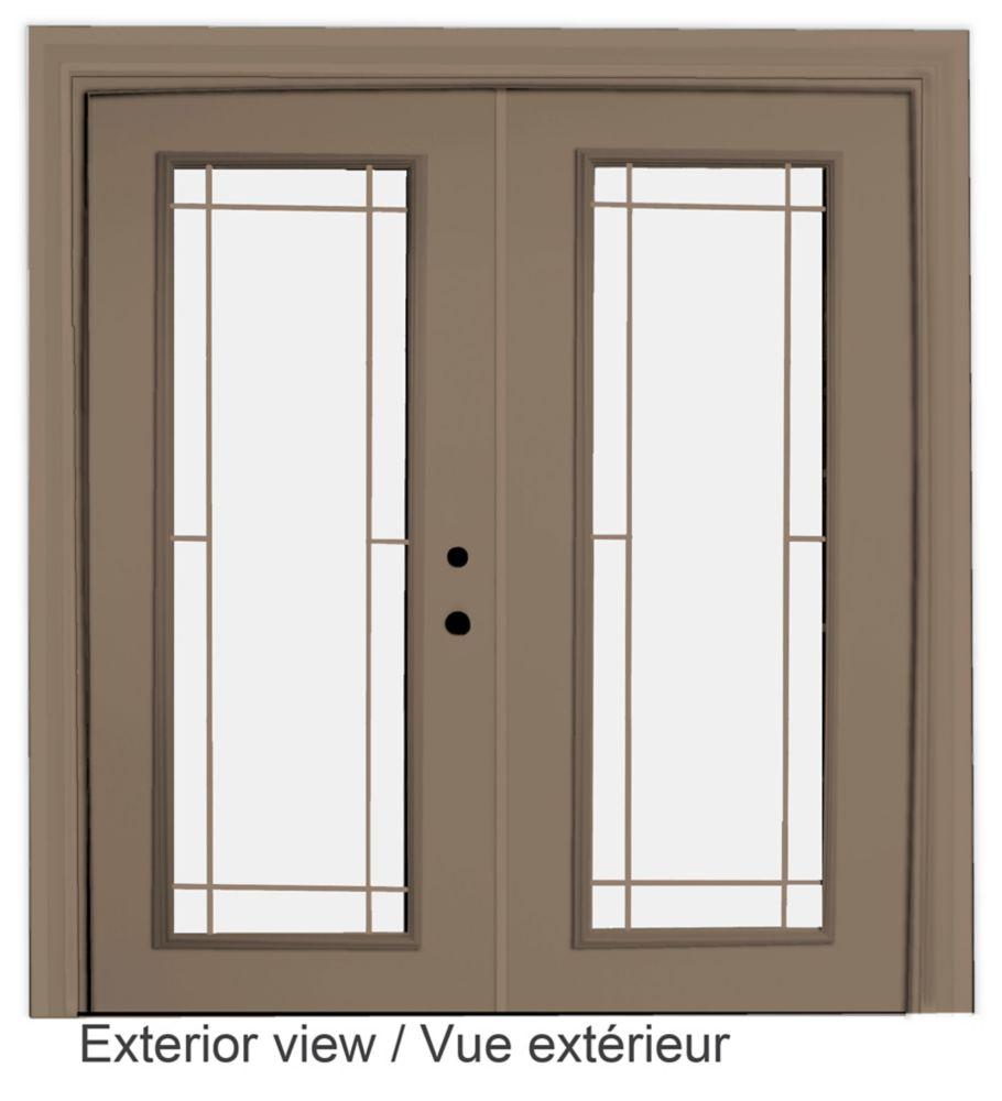 60-inch x 82-inch Sandstone Low-E Argon Lefthand Steel Garden Door with Prairie Style Grill