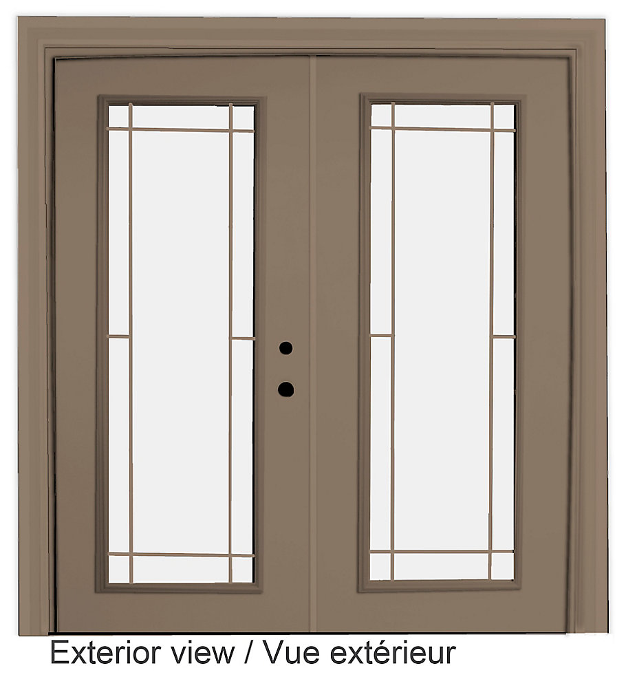 61 inch x 82.375 inch Clear LowE Argon Painted Sandstone Left-Hand Steel Garden Door with Prairie Style Internal Grill - ENERGY STAR®
