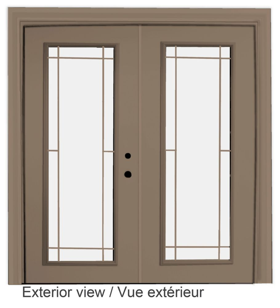 stanley doors 71 inch x inch clear lowe argon prefinished white right hand steel garden. Black Bedroom Furniture Sets. Home Design Ideas