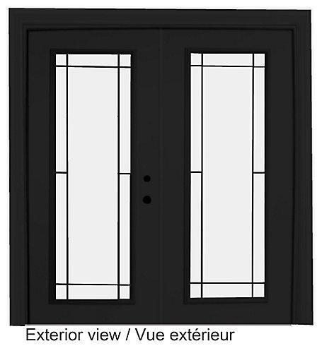 Stanley Doors 71 inch x 82 375 inch Clear LowE Argon Painted Black  Left-Hand Steel Garden Door with Prairie Style Internal Grill   The Home  Depot