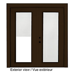 Stanley Doors 61 inch x 82.375 inch Clear LowE Painted Commercial Brown Right-Hand Steel Garden Door with Internal Mini Blinds