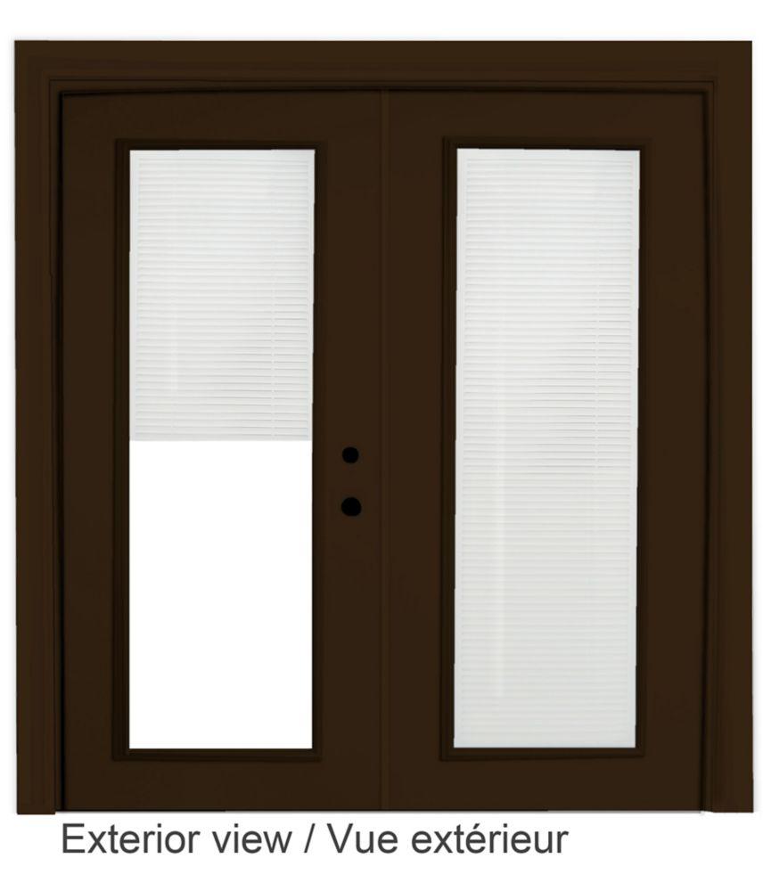 Steel Garden Door-Internal Mini Blinds-6 Ft. x 82.375 In. Pre-Finished Brown - Left Hand