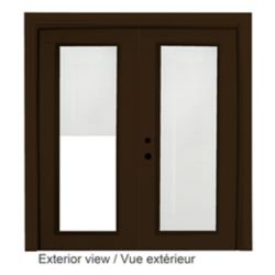 STANLEY Doors 71 inch x 82.375 inch Clear LowE Painted Commercial Brown Right-Hand Steel Garden Door with Internal Mini Blinds