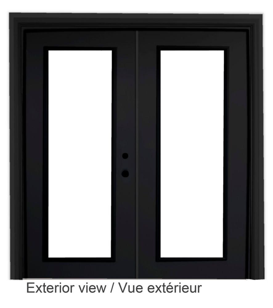 60-inch x 82-inch Black Low-E Argon Lefthand Steel Garden Door