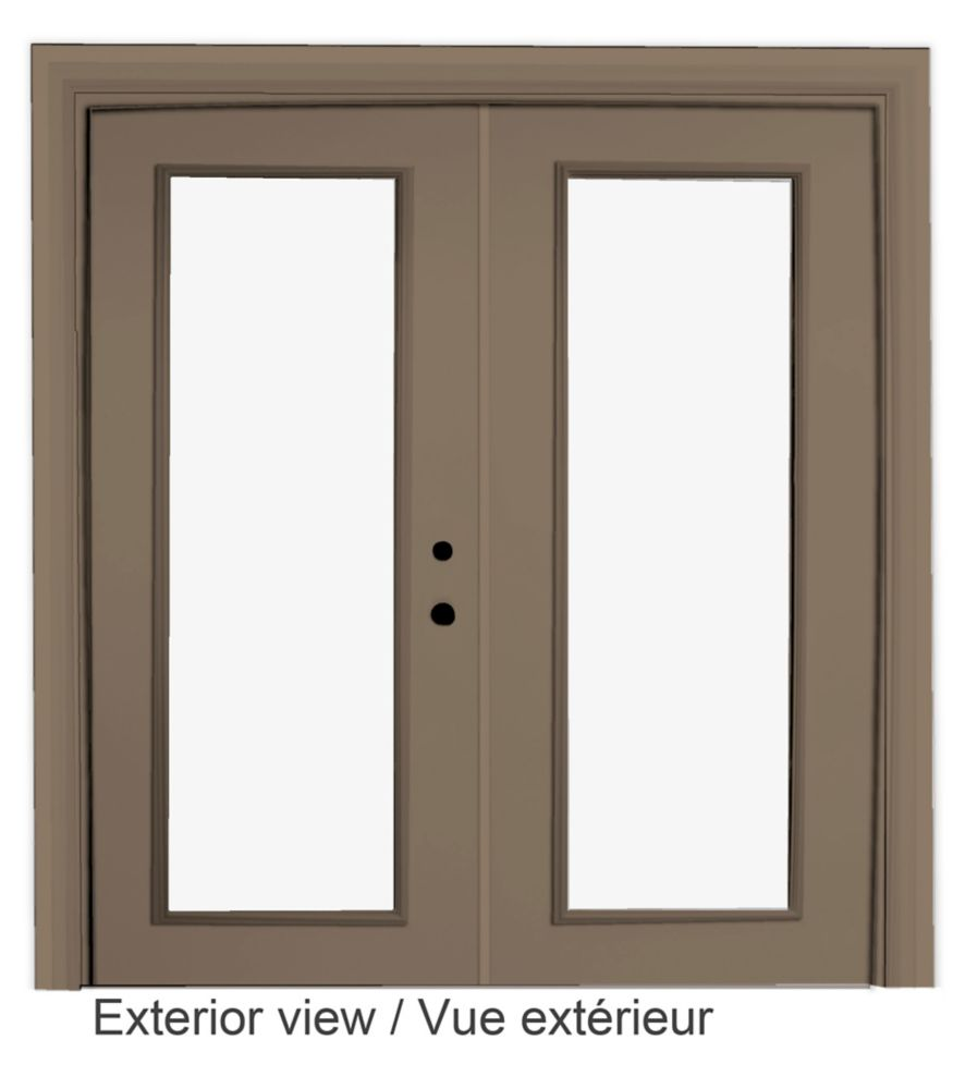 60-inch x 82-inch Sandstone Low-E Argon Lefthand Steel Garden Door